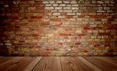 Concept or conceptual vintage or grungy brown background of natural wood or wooden old texture floor and brick wall as a retro pattern layout