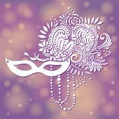 Carnival elements in white. Mask, feathers, beads, flowers. Purple with gold blurred background