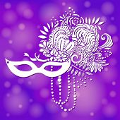 Carnival elements in white. Mask, feathers, beads, flowers. Purple shimmering background