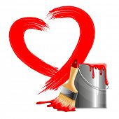 Painted red heart shape, bucket of paint and brush. Vector illustration. Isolated on white background.
