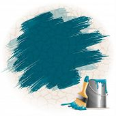 Vector background of thick blue paint smears on stone wall, bucket of paint and brush.