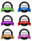 Collection of 100% guaranteed labels isolated on white background.