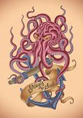 Old-school tattoo of an octopus tied around the sinking anchor. Raster image.
