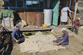 Mongolians produce felt in Harhorin, Mongolia.