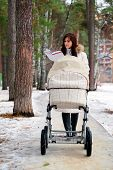 stock photo of buggy  - reading book young mother with baby buggy  - JPG