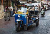 BANGKOK, THAILAND - DECEMBER 25, 2014:Traditional street taxi