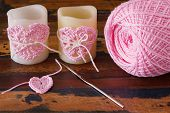 Two Candle With  Pink Crochet Handmade Heart For Saint Valentine's Day