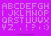 Rounded Flat Pixel Art Alphabet Font In Neon Light Color