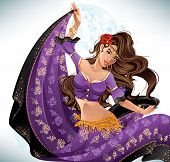 image of gypsy  - Attractive gypsy woman dancing against an abstract background - JPG