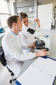 Young scientists working together at the laboratory