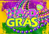 Illustration of Mardi Gras flag