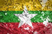 Burma Flag painted on grunge wall