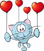 Funny Blue Cat Flying With Balloon - Vector Illustration
