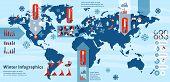 Winter infographics set