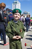 Russian Boy At The Parade On Annual Victory Day