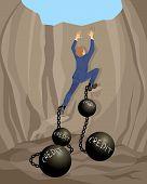 Man In Debt Hole
