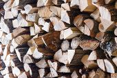 Woodpile From Dry Oak Logs. Selective Focus.