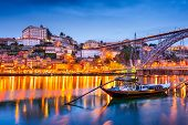Porto, Portugal old town skyline on the Douro River.