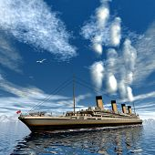 stock photo of passenger ship  - Famous Titanic ship floating among icebergs on the water by cloudy day  - JPG