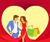 valentine day holiday shopping couple in heart shape, Valentine's gift card