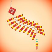 flat style chinese new year firecrackers