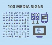 100 media, music, technology, electronics, computer icons, signs, vector illustrations