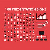 100 presentation, business, infographics, marketing, management icons, signs, vector illustrations