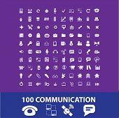100 communication, connection, phone, smartphone, link, cloud, networks icons, signs, vector illustrations