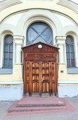 Old house with wooden door