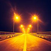 illuminated highway at night without cars Kiev Ukraine