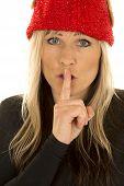 Blond Woman Elf Hat Close Look Shhh