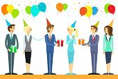 business people group celebrate birthday holiday