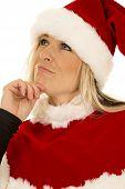 Woman In Black Shirt And Santa Hat Look Up Close