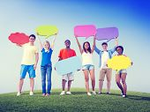 Group Friends Outdoors Speech Bubbles Expression Concept