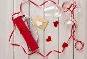 St Valentine's Day. Valentine With Wine Glasses And Box With A Pearl Necklace. Gift. Love