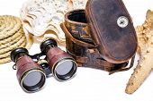 Antique binoculars with leather case   isolated on white