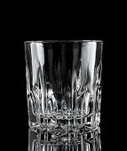 Faceted clear empty glass