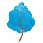 Abstract Blue Tree On A White Background.
