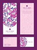 Vector vibrant field flowers vertical frame pattern invitation greeting, RSVP and thank you cards se