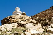 Buddhist Stupas At The Pass In Himalayas Mountain
