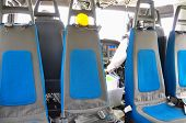 image of helicopter  - Helicopter interior and seat for passenger - JPG