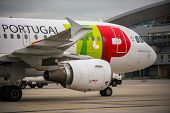 Budapest, Hungary - March 5 - Tap Portugal Flight, Airbus A320 Taxiing To The Gate After Landing At