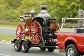 image of mustering  - An antique fire department vehicle on display during a fire muster parade - JPG
