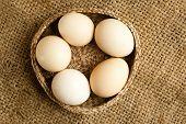 Fresh Organic Eggs On  Burlap Background