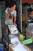 Ice Shaving Machine At Ben Tanh Market.