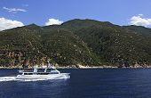 Motor boat in the Aegean Sea
