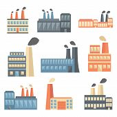 Set of flat factory icons