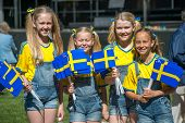Swedish girls celebrating the National day