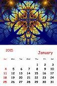 2015. January. Calendar With Beautiful Fractal Pattern.