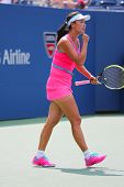 Professional tennis player Shuai Peng from China during round 4 match at US Open 2014